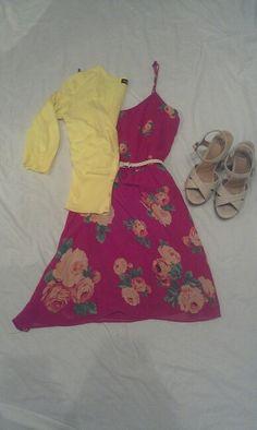 MAY 21: yellow cardigan, magenta floral print dress, nude wedges