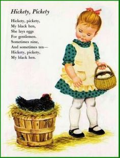 Counting Rhymes illustrated by Sharon Kane Hickety, Pickety, My Black Hen is part of Kids poems - Nursery Rhymes Poems, Rhymes Songs, Counting Rhymes, Pomes, Kids Poems, Vintage Nursery, Little Golden Books, Vintage Children's Books, Baby Kind