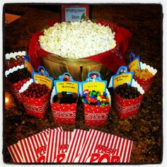 hotel party Popcorn bar with yummy mix-ins Hotel Party, Sleepover Birthday Parties, Birthday Ideas, Hotel Sleepover Party, Boy Sleepover, Outdoor Movie Party, Movie Night Party, Movie Nights, Movie Night Snacks