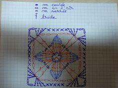 Zozotine et les fils: Cathedral Motif Muffler crochet chart Crochet Motif Patterns, Crochet Blocks, Crochet Diagram, Crochet Chart, Crochet Squares, Crochet Granny, Crochet Stitches, Knit Crochet, Granny Squares