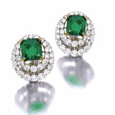 Jewelry OFF! Pair of emerald and diamond earclips Van Cleef Arpels New York 1971 Emerald Jewelry, High Jewelry, Diamond Jewelry, Emerald Diamond, Emerald Cut, Uncut Diamond, Diamond Pendant, Ruby Pendant, Geek Jewelry