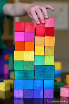 "DIY Dyed Rainbow ""Grimm"" Style Wooden Blocks"