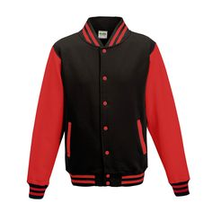 Just Hoods JH043 Jet Black and Fire Red Varsity Jacket - £19.35