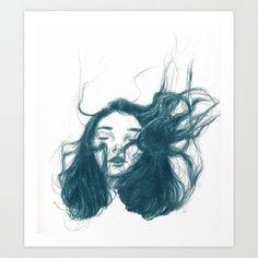 Hair In The Wind, Hair Illustration, Selling Art, Online Gallery, Blue Hair, Art Prints, Drawings, Hair Styles, Artist