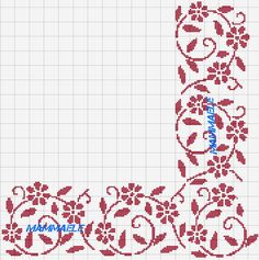Cross stitch pattern, red flower border.