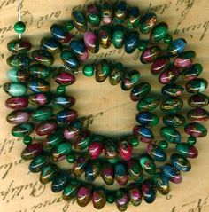 "Mosaic Agate Rondell Beads 8mm 16"" Strand GOLDDUST Blue Purple Green Pretty 