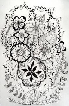 #doodles, #tangle art, #zia,   Flowery zia.