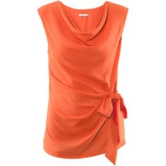 See this and similar H&M blouses - Loose-fitting sleeveless satin blouse with a draped neckline, a side pleat at the front and a knotted tie at one side. Detail...