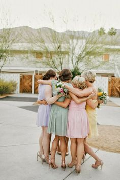 Bridesmaids Inspiration: Pastel Wedding: Via Bridal Musings Pastel Bridesmaids, Wedding Bridesmaids, Bridesmaid Dresses, Bridesmaid Colours, Pastel Wedding Colors, Spring Wedding Colors, Pastel Colors, Pastels, Pastel Weddings