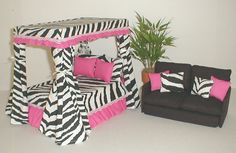 Barbie Furniture Canopy Bed Set Loveseat Hot Pink W/zebra Monster High Bratz…