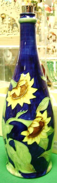 "Hand Painted Sunflower Wine Bottle ($64.99) - Approximately 11.5"" Tall; Artist-signed food-safe bottle from Benaya Ceramic Arts, British Columbia"