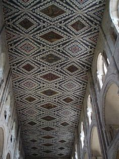 The Waltham Abbey zodiac ceiling was designed by Williams Burges and executed in the 1860s as part of a pictorial scheme about Time. The pattern of the ceiling was based on the 13th century nave ceiling of Peterborough Cathedral; Burges made use of medieval Christian symbolism in his design. Peterborough Cathedral, Waltham Abbey, Gothic Buildings, Marquess, Christian Symbols, Sun And Stars, Arts And Crafts Movement, Cardiff, Victorian Gothic