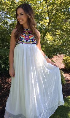 Embroidered Tribal Print White Maxi Dress – Just Jules
