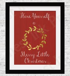 Have Yourself a Merry Little Christmas Red by FreshestInkPrints Merry Little Christmas, Red Christmas, Christmas Ideas, Artwork, Gold, Work Of Art, Merry Christmas Love