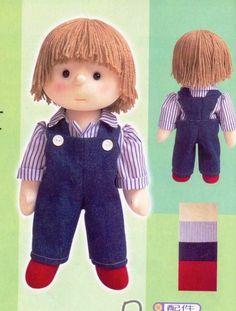 Mimin Dolls: Boy - Pattern and tutorial available Doll Patterns Free, Doll Clothes Patterns, Free Pattern, Sock Dolls, Felt Dolls, Rag Dolls, Crochet For Boys, Crochet Baby, Crochet Dolls