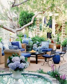 Inspiration for blue & white in your outdoor spaces. Hadley Court