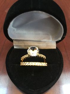 14K  & SS  ROUND WHITE SAPPHIRE ENGAGEMENT WEDDING RING SET SZ 7 + GIFT!  #EXCEPTIONALBUY