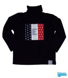 Flag-Turtleneck sweater with the recreation of French flag and first name initial / Camisola gola alta com recriação da bandeira Francesa by BebuzzyandFriends, €15.00