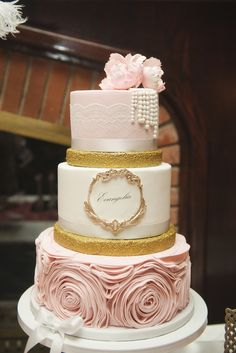 top layer blush pink w/lace - no draping pearls ribbon soft gold get rid of middle bottom layer as is - blush pink
