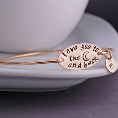 Love You to the Moon and Back Bracelet - Gold