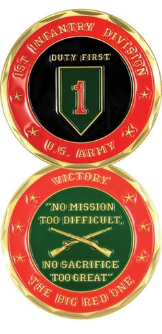 """1st Infantry Division """"The Big Red One"""" Challenge Coin - Meach's Military Memorabilia & More"""