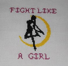 Fight like a girl. (The outline is from Sailor Moon.)