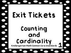 Exit tickets for K Counting and Cardinality standards!
