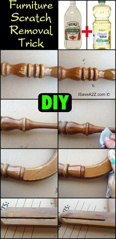 DIY Oil and Vinegar Furniture Scratch Removal Trick -  I use this recipe when I buy old but real wood furniture at garage sales!  This solution makes it look new again!!!!  It can handle the worst scratches ever!!!  iSaveA2Z.com