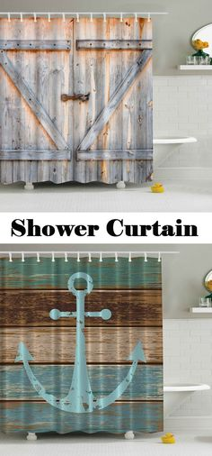 Eco-Friendly Dream Wood Door Printing Shower Curtain For