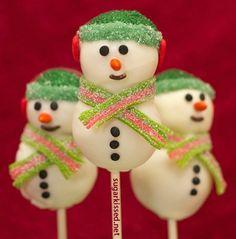 Снеговики: пирожные «кейк попс». Рецепт с пошаговыми фото + видео