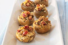 """The Ultimate Stuffed Mushroom – We don't use the word """"ultimate"""" loosely. Each one of these delectable stuffed appetizers is bursting with rich, buttery-tasting cracker crumbs and cheesy flavor.Food Recipe Share and Enjoy! Kraft Foods, Kraft Recipes, Finger Food Appetizers, Appetizer Recipes, Pinwheel Appetizers, Thanksgiving Recipes, Holiday Recipes, Thanksgiving Appetizers, Holiday Appetizers"""