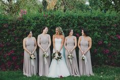 bridesmaids in mauve dresses - katie pritchard photography