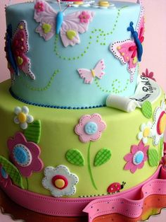 Flowers and butterflies cake design idea Girl Cakes, Baby Cakes, Cupcake Cakes, Cake Fondant, Butterfly Birthday Party, Birthday Cake Girls, Garden Birthday, 31 Birthday, Birthday Ideas