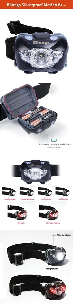 Blinngo Waterproof Motion Sensor Headlamp, Adjustable Headlight Flashlight with Red Lights for Reading Outdoor Running Camping Backpacking Fishing Hunting Climbing Walking Jogging. Six modes exchangeable: The light is very bright. The white has 4 settings, high, medium, low and SOS flashing while the red LED has two settings, steady and flashing. Best outdoor headlamp, perfect for running, jogging, hiking, camping, fishing, hunting, reading, biking, kayaking, caving, climbing, skiing...