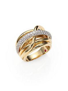 Roberto Coin Classica Diamond & Yellow Gold Crossover Ring - Y
