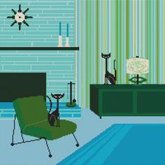Modern Cross Stitch - By Kerry Beary 'Geenie and Sacha Cats' - Cross Stitch Kit. $77.97, via Etsy.