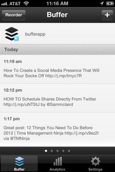 Buffer for iPhone lets you easily add Tweets to your Buffer on the move.