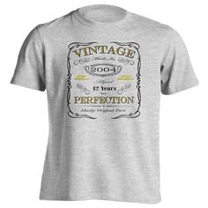 12th Birthday Gift T-Shirt - Born In 2004 - Vintage Aged 12 Years To Perfection Short Sleeve Mens T Shirt #Affiliate