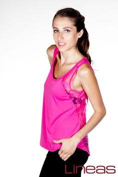 Playera Modelo 18043 Precio $80 MXN Colores: Coral, Fucsia y Jade. #Lineas #outfit #moda #tendencias #2014 #ropa #prendas #estilo #moda #primavera #playera