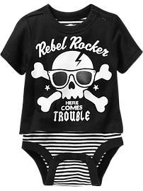 """Rebel Rocker"" Graphic Tee Bodysuits for Baby"