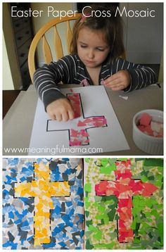 Mosaic Cross Craft for Easter - Christian Easter Crafts for Kids and Toddlers Easter Crafts For Toddlers, Easter Activities, Toddler Crafts, Preschool Easter Crafts, Preschooler Crafts, Bible Crafts For Kids, Craft Activities, Easter Jesus Crafts, Preschool Church Crafts