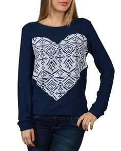 Heart Patterned Full Sleeve Round Neck Top-id.30762