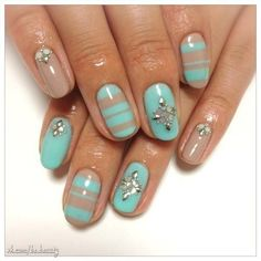 Turquoise and beige nails with stones