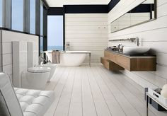 Great modern bathroom all in white by Porcelanosa