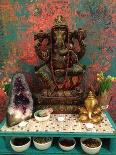 Bronze Ganesha. Rudraksha mala. Crystal. Victoria Keen silk screen art. Altar. Remover of obstacles.