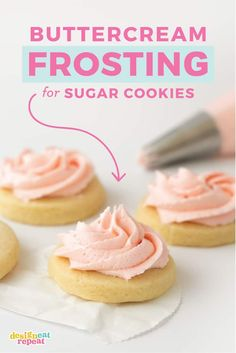 The best fluffy vanilla sugar cookie buttercream frosting! With a blend of vanilla and almond extract, this recipe is perfect for spreading on soft cut out sugar cookies to make the ultimate buttery and creamy Valentine& Christmas, or birthday cookies! Best Sugar Cookie Recipe, Lemon Sugar Cookies, Chewy Sugar Cookies, Cookies Et Biscuits, Valentine Sugar Cookies Recipe, Easy Sugar Cookie Frosting, Baby Cookies, Heart Cookies, Easter Cookies