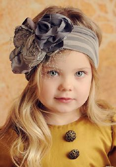 Persnickety Clothing Gray Rosette Headband- Old t shirts! Persnickety Clothing, Rosette Headband, Headband Baby, Knit Headband, Crystal Headband, Old T Shirts, Turbans, Beautiful Children, Kind Mode