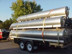 """NEW FACTORY BLEMISHED 23"""" and 25"""" Diameter Round Pontoon Tubes;  [Legend - RS = Right Side; LS = Left Side; TS = Tube Stock with no riser brackets]:  1 - 16'L x 25""""D (TS) (no cone) - $700 each  2"""