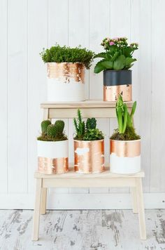 These repurposed Chalk Paint®cans by make stylish planters with a touch of Chalk Paint® in Old White! Annie Sloan Gold Size was… Home Crafts, Diy Home Decor, Diy And Crafts, House Plants Decor, Plant Decor, Make Up Tisch, Recycle Cans, Decoration Plante, Tin Can Crafts