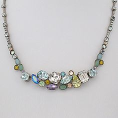 Center Crystal Cluster Necklace. Sorrelli Running Water Collection. Get ready for Spring!